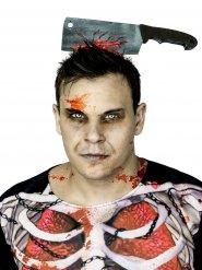 Hackbeil im Kopf Halloween-Kostümzubehör silber-rot 28cm