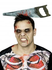 Haarreif mit Säge Halloween-Accessoire silber-grau 40cm
