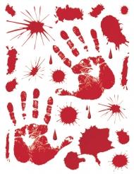 Schaurige Handabdrücke blutig Halloween-Deko rot 70x25cm