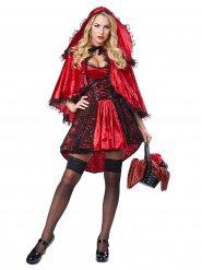 Sexy Märchenkostüm Rotkäppchen für Damen schwarz-rot