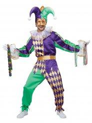 Harlekin Herrenkostüm Clown-Verkleidung lila-gold-grün
