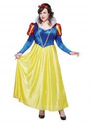 Schneewittchen Damenkostüm in Übergröße Märchen gelb-blau