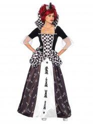 Schach-Königin Kostüm für Damen schwarz-weiß