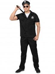 Heisser Polizist Kostüm für Herren schwarz-silber
