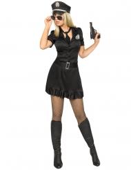 Sexy Polizistin Kostüm für Damen schwarz-silber