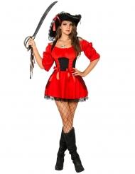 Sexy Piraten Damenkostüm mit Spitze und Schleifen rot