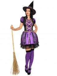 Hexenkostüm für Damen in schwarz-violett