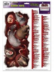Gruselige Ratten und Blutspuren Raumdekoration Halloween 3 Stück 30x43cm