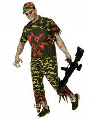 Schauriges Zombie Soldaten-Kostüm für Herren Camouflage-Look