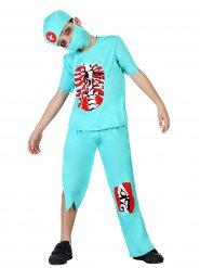 Zombie-Arzt Kostüm für Kinder Chirurg Halloween türkis-rot