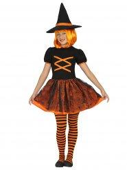 Verkleidung Hexe schwarz-orange für Mädchen