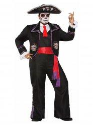 Tag der Toten Skelett-Kostüm für Herren Plus Size schwarz-rot