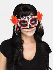 Dia de los muertos-Augenmaske mit Blumen Kostüm-Accessoire bunt