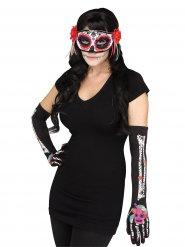 Handschuhe und Maske für Damen Dia de los Muertos