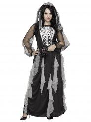 Halloween Damenkostüm Skelettbraut grau-schwarz-weiss
