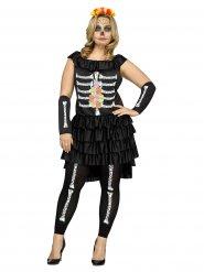 Skelett Damen-Kostüm Dia de los muertos