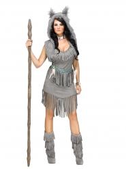 Indianerin Kostüm mit Fransen für Damen grau