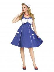 50er Jahre Matrosinen Damenkostüm blau-weiss
