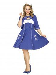 Süßes 50er Jahre Marine Damenkostüm blau-weiss