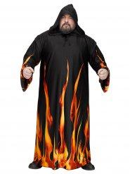 Flammen Kostüm für Herren Übergröße schwarz-orange