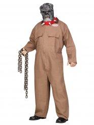 Schauriges Hundekostüm für Erwachsene Gefangener Übergröße braun