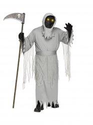 Gruseliges Sensenmann-Kostüm für Halloween animiert mit Maske grau