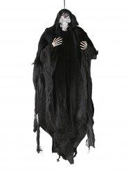 Hängendes Skelett Deko für Halloween schwarz-silber 81cm
