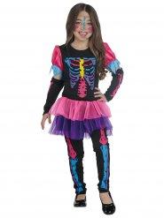 Süßes Skelett Mädchenkostüm für Halloween