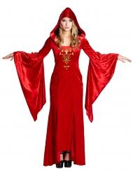 Mittelalterliche Königin-Damenkostüm rot-gold