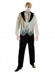 Zombie-Bräutigam Halloween Kostüm für Herren Anzug grau-schwarz