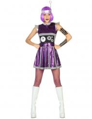 Sexy Weltall Roboter-Damenkostüm lila-silber