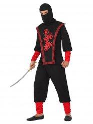 Ninja Krieger Kostüm für Herren schwarz-rot