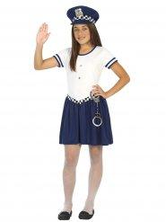 Polizistin-Kinderkostüm für Mädchen Politesse weiss-blau