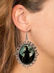 Hexen-Ohrringe mit Schmuckstein Kostüm-Accessoire schwarz-silber