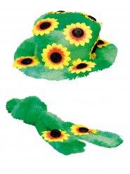 Hippie Kostüm-Set Plüsch für Damen grün-gelb