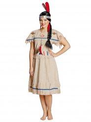 Beiges Indianerinnen Kostüm für Damen