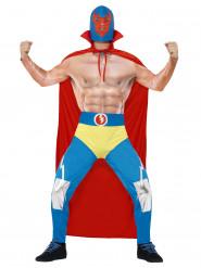 Wrestler Kostüm blau-rot-gelb