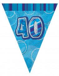 Blaue Wimpelgirlande 40 Jahre2,74m