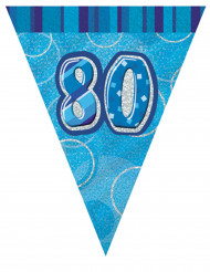 Wimpelgirlande blau 80 Jahre, 2,74m