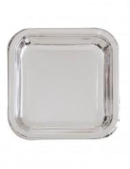 Metallic-Pappteller Silvester-Tischdekoration Disco 8 Stück silber 23cm
