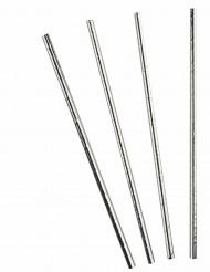 Festliche Strohhalme Metallic Tischzubehör für Silvester 10 Stück silber 20,5cm