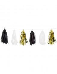 Girlande mit Quasten Raumdekoration schwarz-weiss-gold 2,74m