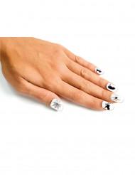 Künstliche Fingernägel weiss-schwarz