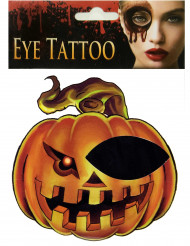 Kürbis-Tattoo Augen-Make-up für Halloween orange-schwarz