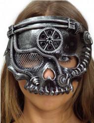 Steampunk Halbmaske Skelett silber