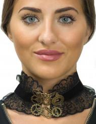 Steampunk-Collier Halloween-Accessoire für Damen schwarz-braun