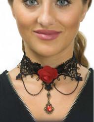 Dämonisches Vampir-Collier Halloween-Accessoire schwarz-rot
