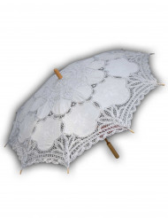 Renaissance-Regenschirm mit Spitze bedeckt weiss