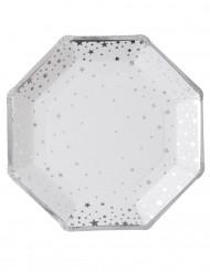 8 achteckige Pappteller silberne Sterne