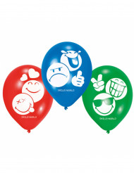 6 Emoticons™ Latex Luftballons